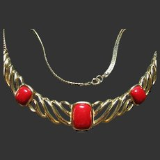 Signed Trifari Vintage Showy Red & Gold Tone Necklace