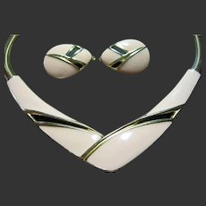 Trifari Vintage Enamel Necklace & Clip-On Earrings SET