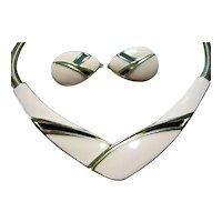 Trifari Vintage Enamel Necklace & Clip Earrings SET