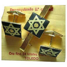 Men's Cuff Link Set Vintage Star of David