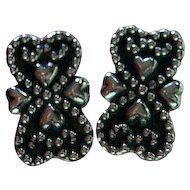 Vintage Sterling Silver 925 Hearts Clips Earrings