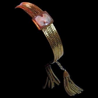 Vintage Cameo Gold Filled Chains & Tassels Bracelet