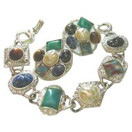 Signed Sarah Coventry Vintage Bracelet & Earrings Colorful Set
