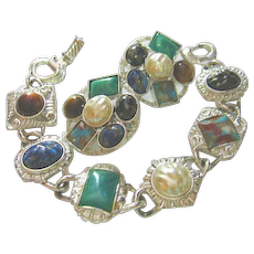 Signed Sarah Coventry Vintage Bracelet & Earrings Colorful Set