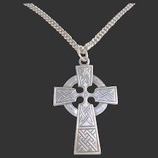 925 Sterling Silver Celtic Cross & Chain Unisex