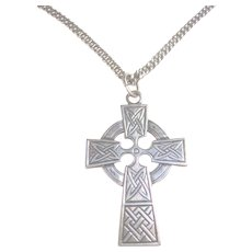 925 Sterling Silver Celtic Cross & Chain Unisex