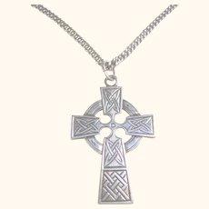 925 Sterling Silver Celtic Cross & Chain Pendant Unisex