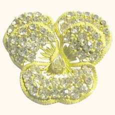 Signed Weiss Vintage Yellow Pansy Brooch / Pin Rhinestones
