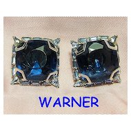 Signed Warner Blue Faux Sapphire Squares & Baguettes Rhinestones Earrings