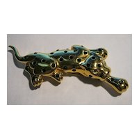 Brooch/Pin Limited Edition Signed Big Cat Leopard Rhinestones