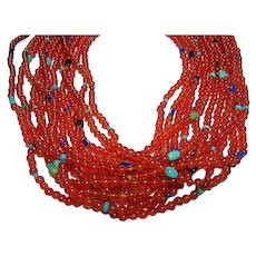 Fall Carnelian Turquoise & Lapis Beads  12 Strand Necklace Runway