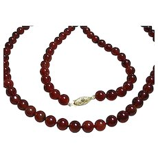 Fall Long Genuine Carnelian Bead Necklace