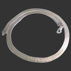 Herringbone Sterling Silver 925 Greek Key Necklace Italy