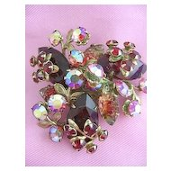 Vintage Red Brooch/Pin Rhinestone,Volcanic & Red Aurora Borealis