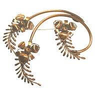 Matisse Renoir Vintage Fine Copper Flowers/Floral & Leafs Brooch/Pin