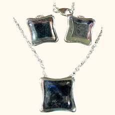 Signed RLM Studio Modernist Sterling Silver 925 Necklace & Earrings Set