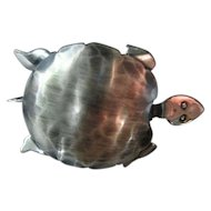 Turtle Brooch/Pin Signed ORB Modern Vintage Sterling Silver 925 Hand Crafted