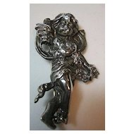 Vintage Sterling Silver 925 Repousse Cherub/Cupid/Putti Vintage Pin/Brooch