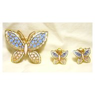 Butterfly Pin & Earrings Set Signed JJ Jonette  Jewelry Vintage Enamel Pink/Blue/White Gold Tone