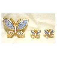 Butterfly Pin & Earrings Set Signed JJ Jonette  Jewelry Vintage Enamel Pink/Blue/White Gold Tone