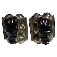 Vintage Mexico Small Black Carved Onyx & Sterling Silver Tribal Face Screw Earrings