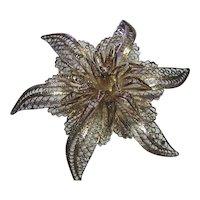 Silver 950 Vintage Fine Filigree Flower Brooch Pin