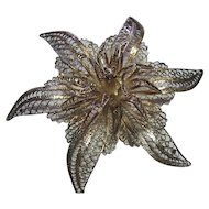 Silver 950 Vintage Fine Filigree Flower Brooch Pin