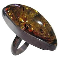 Knuckle Buster Woman's Size 6.5 Sterling Silver & Amber Marquise Ring