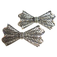 2 Sterling & Marcasite Vintage Bow Pins / Brooches
