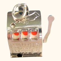 925 Sterling Silver Moveable Slot Machine Charm