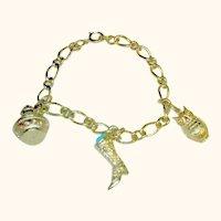 Avon Bracelet & Charms Victorian Style Gold Tone