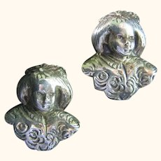 Vintage Victorian Style Child Sterling 925 Earrings Clip-Ons
