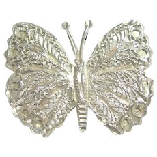 Big Filigree 925 Sterling Silver Butterfly Pendant / Necklace