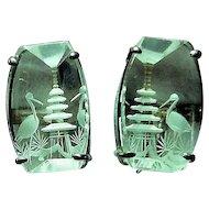 Vintage Carved Crystal Pagoda & Bird Screws Earrings