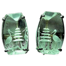 Vintage 1950's Carved Crystal Pagoda & Bird Screw Earrings