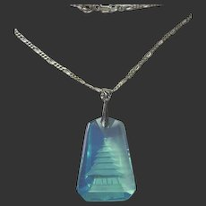Vintage Blue Carved Crystal Pagoda Sterling Silver Pendant/Necklace