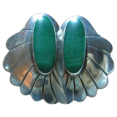 925 Sterling & Malachite Earrings South Western Style