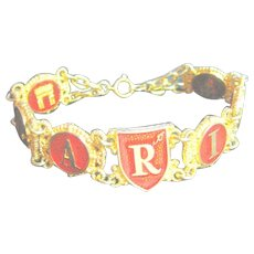 Vintage Big 8 Inch Bracelet I Love Paris Red & Gold Tone