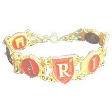 """Vintage Big 8"""" Bracelet I Love Paris Red & Gold Tone"""