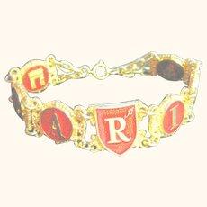 Vintage Big 8 Inch Bracelet I Love Paris Red & Gold Tone