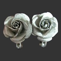 Vintage Dainty Lewis Segal Rose Silver Tone Pierced Earrings