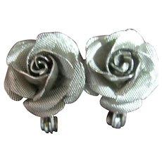 Vintage Dainty Lewis Segal Rose Silver Tone Pierced Earrings