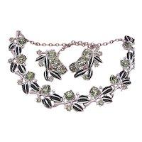 Vintage SET Necklace & Earrings Signed Tara Rhinestones