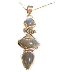 Labradorite 925 Sterling Silver Pendant / Necklace