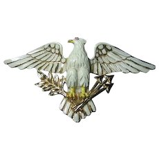 Vintage Big Brooch/Pin Eagle Bird Patriotic Signed Coro Enameled Figural