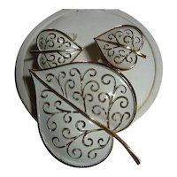 Signed Trifari Heart Vintage Enamel Leaf Brooch/Pin & Earrings SET