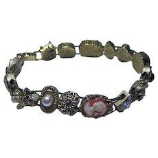 Vintage Slide Bracelet Cameo, Bug, Flowers Gold Tone