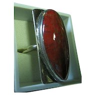 Red Carnelian Woman's Sterling Silver 925 Modern Free Form Ring 8.5