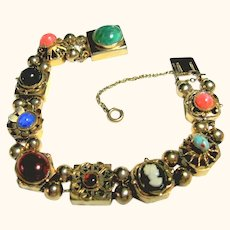 Vintage Signed Reinad Slide Bracelet Charms & Cameo