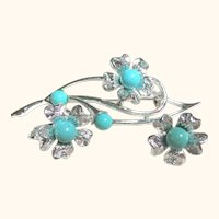 Signed Sarah Coventry Faux Turquoise & Silver Tone Floral Set